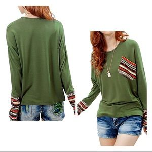 Long Sleeve Striped Patch Pocket Casual Shirt L